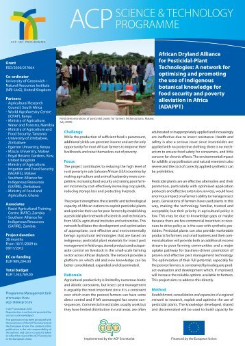 African Dryland Alliance for Pesticidal-Plant Technologies: A ...