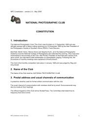 NATIONAL PHOTOGRAPHIC CLUB CONSTITUTION 1. Introduction ...