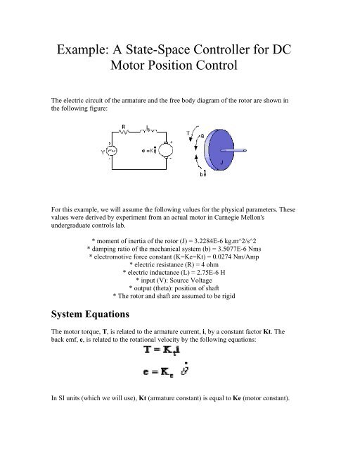 Example: A State-Space Controller for DC Motor Position Control