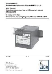 Betriebsanleitung Messumformer für Frequenz ... - Mbs-ag.com