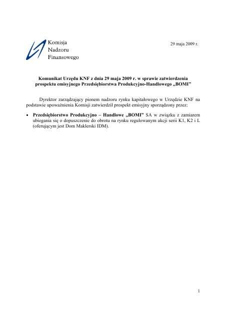 Komunikat Urzędu KNF z dnia 29 maja 2009 r. w sprawie ...