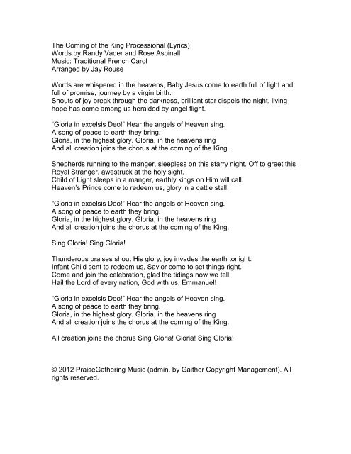 The Coming Of The King Processional Lyrics Pine Lake Music