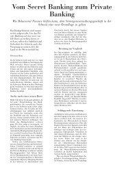 Vom Secret Banking zum Private Banking - Swiss Finance Institute