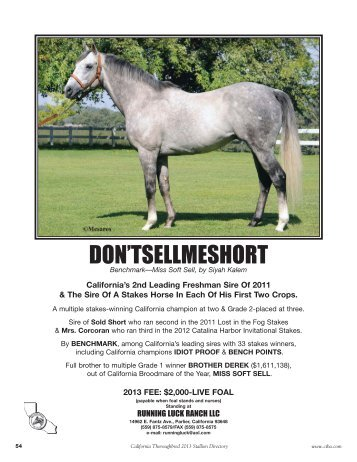 DON'TSELLMESHORT - California Thoroughbred Breeders Association