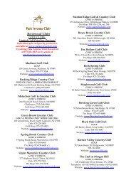 2012 RECIPROCAL CLUBS LISTING - Park Avenue Club