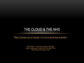 The CLOUD & The NHS - Isaca