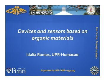 Devices and Sensors Based on Organic Materials - PREM