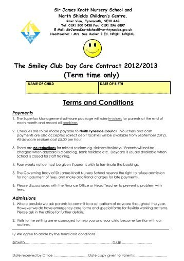 (Term time only) Terms and Conditions - Sir James Knott Nursery ...