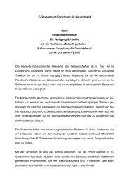 Zukunft gestalten ? E-Government-Forschung für Deutschland