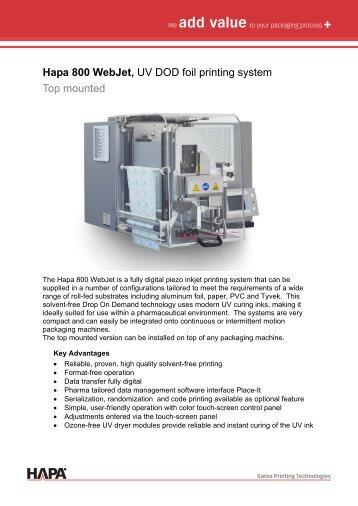 Hapa 800 Webjet, UV DOD foil printing system Top mounted