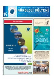 Nöroloji Bülteni Sayı 19 - Türk Nöroloji Derneği