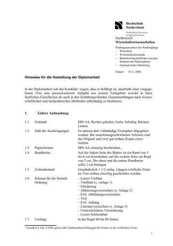 Hinweise für die Gestaltung der Diplomarbeit In der Diplomarbeit ...