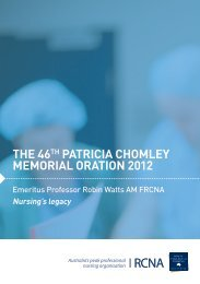 the 46th patricia chomley memorial oration 2012 - Royal College of ...