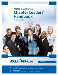 Chapter Leaders' Handbook - Michigan Credit Union League