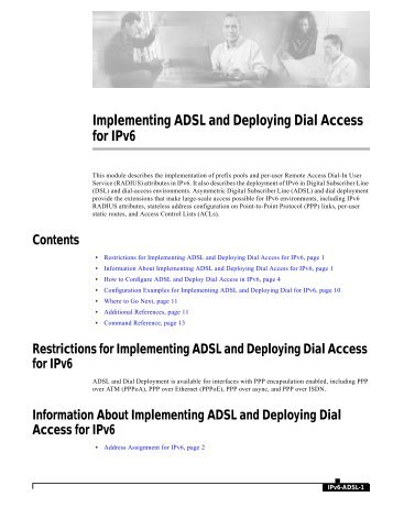 ADSL and Deploying Dial Access for IPv6 Example