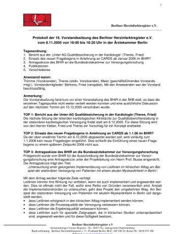 Protokoll der 16. Vorstandssitzung des Berliner Herzinfarktregister ...