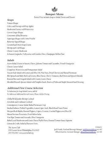 Banquet Menu - The Acorn Club