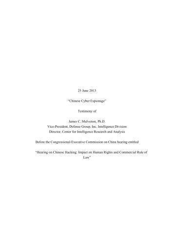 "25 June 2013 ""Chinese Cyber Espionage"" Testimony of James C ..."