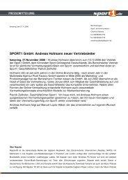 SPORT1 GmbH: Andreas Hofmann neuer Vertriebsleiter