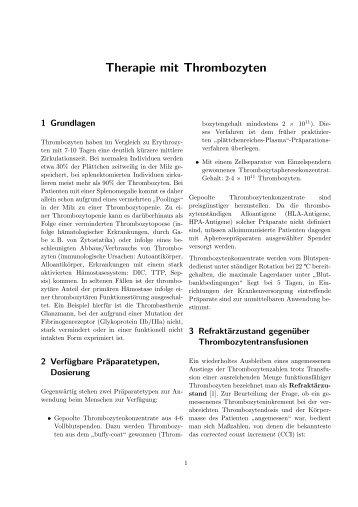 Therapie mit Thrombozyten - Transfusionsmedizin Universitaet ...