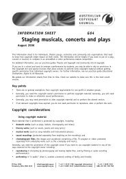 INFORMATION SHEET G64 Staging musicals, concerts and plays