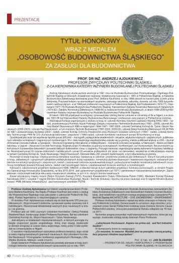 """""""OSOBOWOŚĆ BUDOWNICTWA ŚLĄSKIEGO"""" - śląska izba ..."""