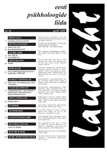 2009 aprill nr 44 - Eesti Psühholoogide Liit