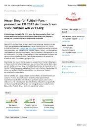 Neuer Shop für Fußball-Fans - Geschenke 24 GmbH