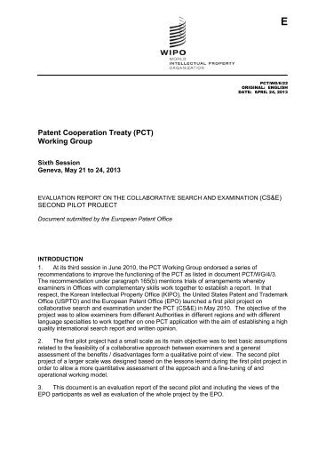 Patent Cooperation Treaty (PCT) Working Group - WIPO