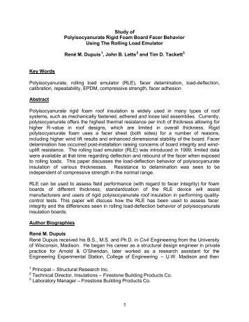 1 Study of Polyisocyanurate Rigid Foam Board Facer Behavior ...