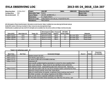 evla observing log 2013-05-24_0018_13a-207 - Very Large Array