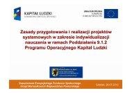 Zasady przygotowania i realizacji projektów systemowych w ...