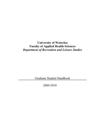 The Recreation and Leisure Studies Graduate Student Handbook