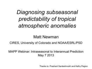 Diagnosing predictability of tropical atmospheric anomalies - NOAA