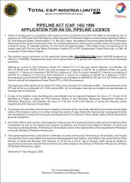 Pipeline Act (Cap. 145) 1996 Application for an Oil ... - TOTAL Nigeria