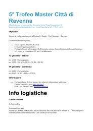 5° Trofeo Master Città di Ravenna Info logistiche