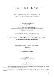 Nuovo statuto della Regione Lazio - Consiglio delle Autonomie Locali