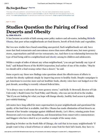 Studies Question the Pairing of Food Deserts and Obesity