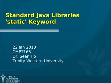 Standard Java Libraries 'static' Keyword