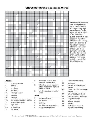 Word Search: Shakespearean Words
