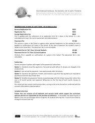 ISCT-2013 Fee Schedule - International School of Cape Town