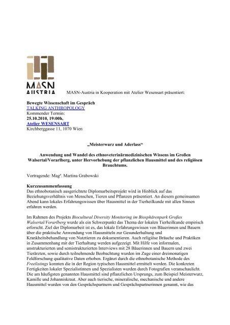 MASN-Austria in Kooperation mit Atelier Wesensart präsentiert ...