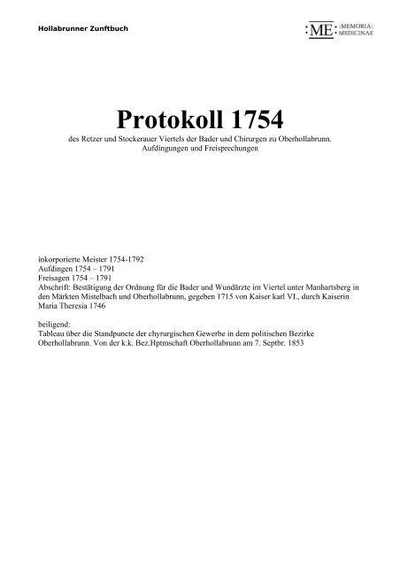 Protokoll 1754 - Memoria Medicinae - Medizinische Universität Wien