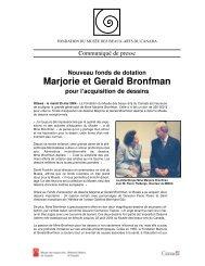 Marjorie et Gerald Bronfman - National Gallery of Canada