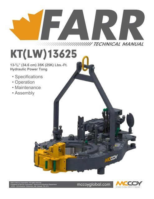 Technical Manual - KT13625 - Revision January 2012 - McCoy
