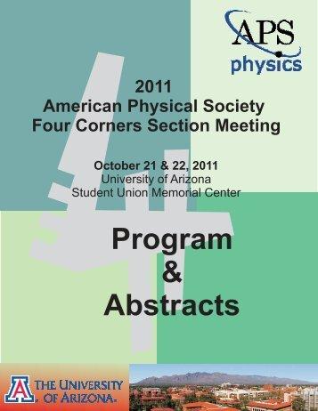 4Program & Abstracts - Department of Physics - University of Arizona