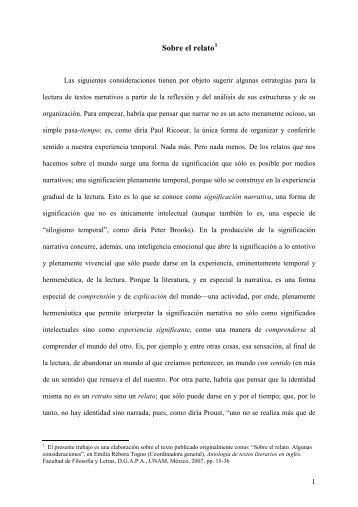Sobre el relato. Algunas consideraciones - Luz Aurora Pimentel ...