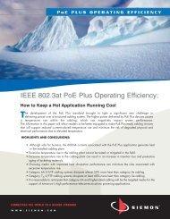 IEEE 802.3at PoE Plus Operating Efficiency: - Siemon