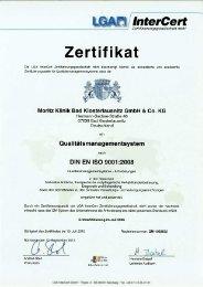 Zertifikat - Moritz Klinik