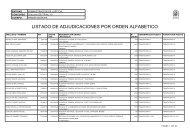 listado de adjudicaciones por orden alfabetico - Administración de ...